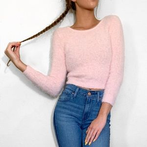Light Baby Pink Fuzzy Soft Cropped Sweater Top